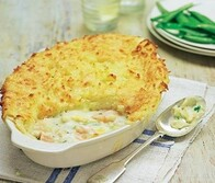 Smokey Fish Pie in Spinach Sauce